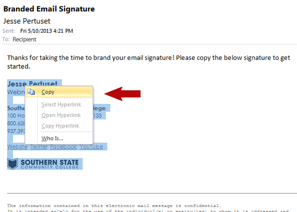 Branding Email Signature Step 1