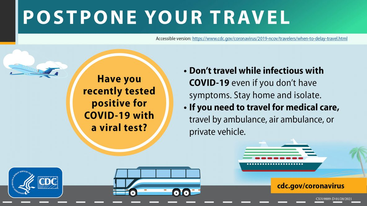 Don't travel while infectious with Covid-19 even if you dont have symptoms.