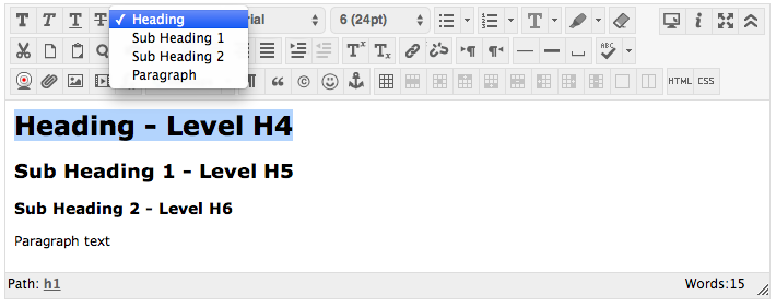 Headings in Canvas