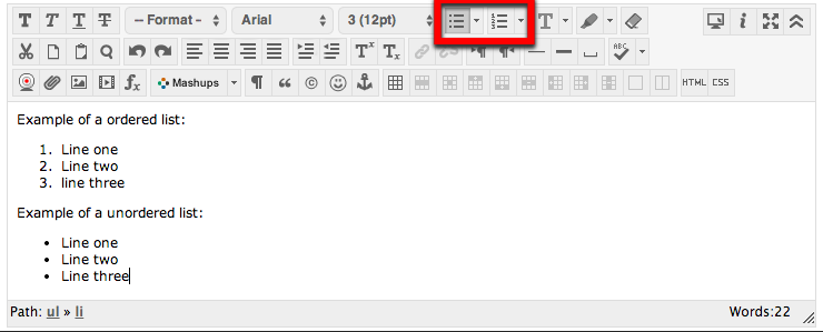 Lists in Canvas