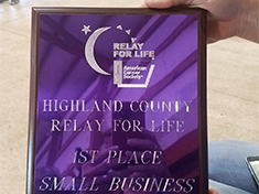 Highland County Relay for Life 1st Place Small Business