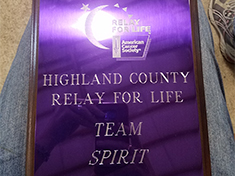 Highland County Relay for Life Team Spirit Award