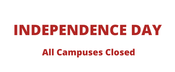 Independence Day, All Campuses Closed