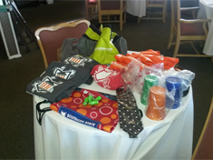 Table of Branded SSCC items at the Members Retreat