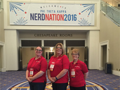 Phi Theta Kappa members Brandy Yates, Cindy Gullet, and Connie Huber at the Nerd Nation National Canference