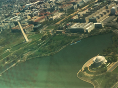 The Washington Momument and The Thomas Jefferson Memorial from the plane