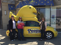 Cindy Gullet, Brandy Yates, and Connie Huber with the Peeps car